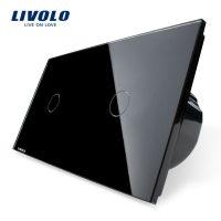Intrerupator simplu + simplu cu touch Livolo din sticla culoare neagra