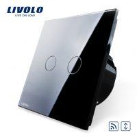 Intrerupator draperie wireless cu touch Livolo din sticla culoare neagra