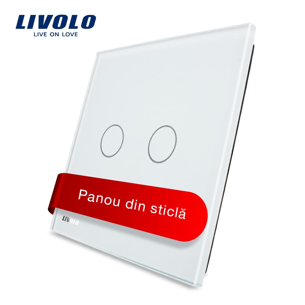 Panou intrerupator dublu cu touch Livolo din sticla imagine case-smart.ro 2021