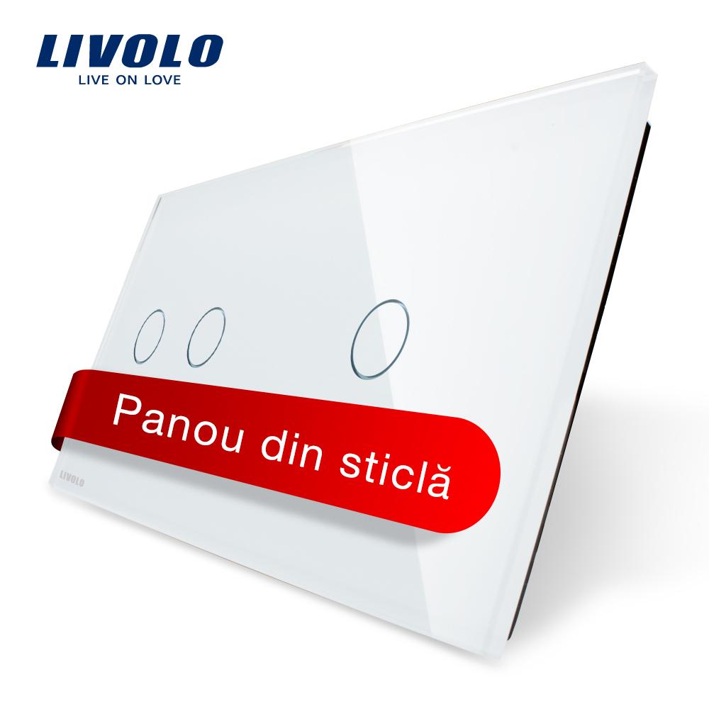 Panou intrerupator dublu + simplu cu touch Livolo din sticla imagine case-smart.ro 2021