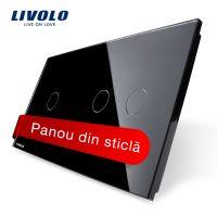 Panou intrerupator simplu+dublu cu touch Livolo din sticla culoare neagra