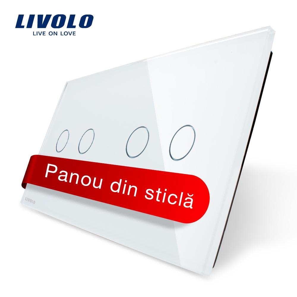 Panou intrerupator dublu+dublu cu touch Livolo din sticla imagine case-smart.ro 2021