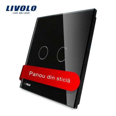 Panou intrerupator dublu cu touch Livolo din sticla culoare neagra