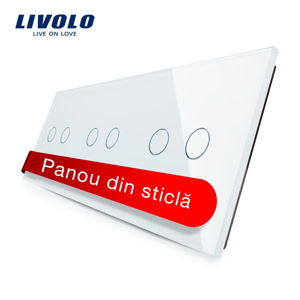 Panou intrerupator dublu+dublu+dublu cu touch Livolo din sticla imagine case-smart.ro 2021