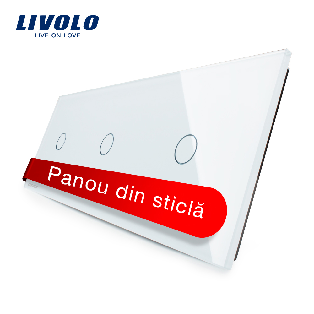 Panou intrerupator simplu+simplu+simplu cu touch Livolo din sticla imagine case-smart.ro 2021