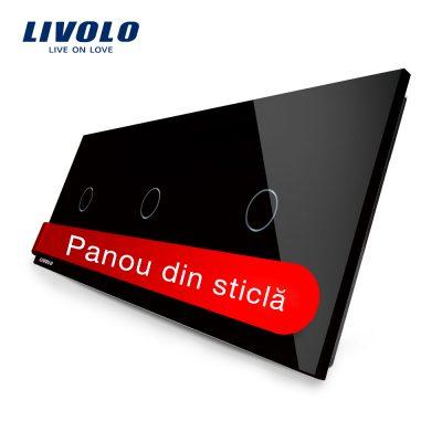 Panou intrerupator simplu+simplu+simplu cu touch Livolo din sticla culoare neagra