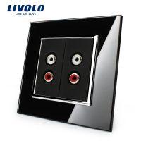 Priza dubla audio Livolo cu rama din sticla
