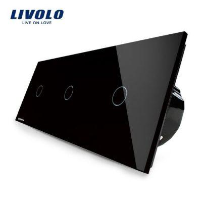 Intrerupator triplu cu touch Livolo din sticla culoare neagra