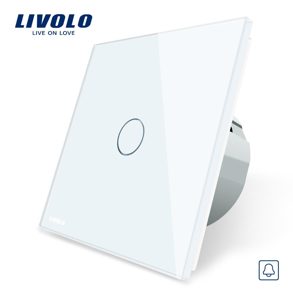 Buton sonerie cu touch Livolo din sticla imagine case-smart.ro 2021