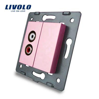 Priza audio Livolo culoare roz