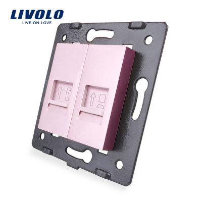 Priza dubla telefon + internet Livolo culoare roz