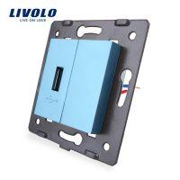 Priza USB Livolo culoare albastra