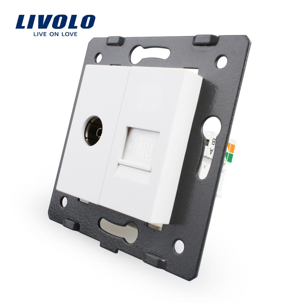 Priza dubla TV + telefon Livolo imagine case-smart.ro 2021