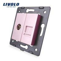 Priza dubla TV + telefon Livolo culoare roz