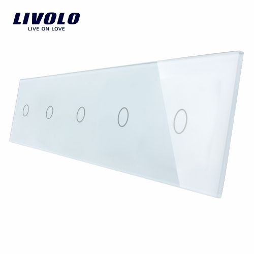 Panou 5 intrerupatoare simple cu touch Livolo din sticla imagine case-smart.ro 2021