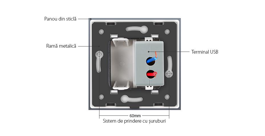 Priza USB Livolo cu rama din sticla