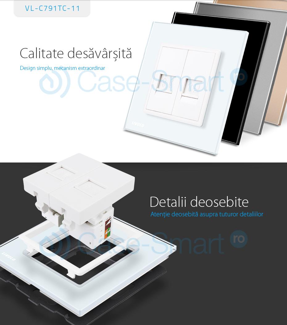 Priza dubla Telefon + Priza internet Livolo cu rama din sticla