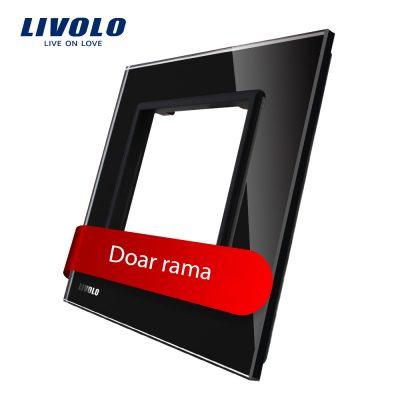 Rama priza simpla Livolo din sticla culoare neagra