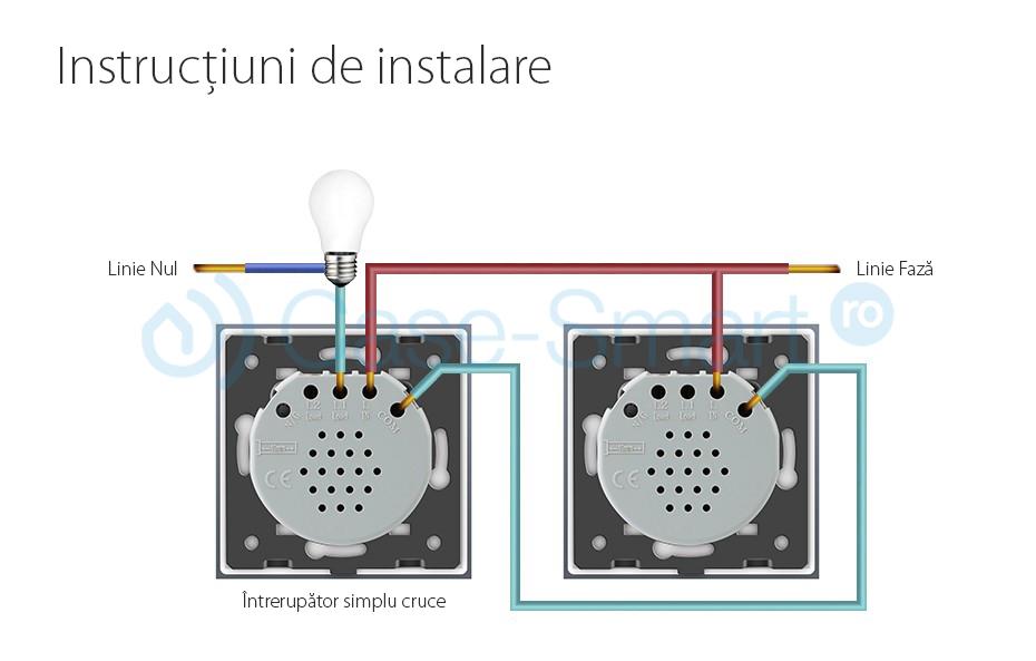Intrerupator cap scara / cap cruce wireless cu touch Livolo din sticla