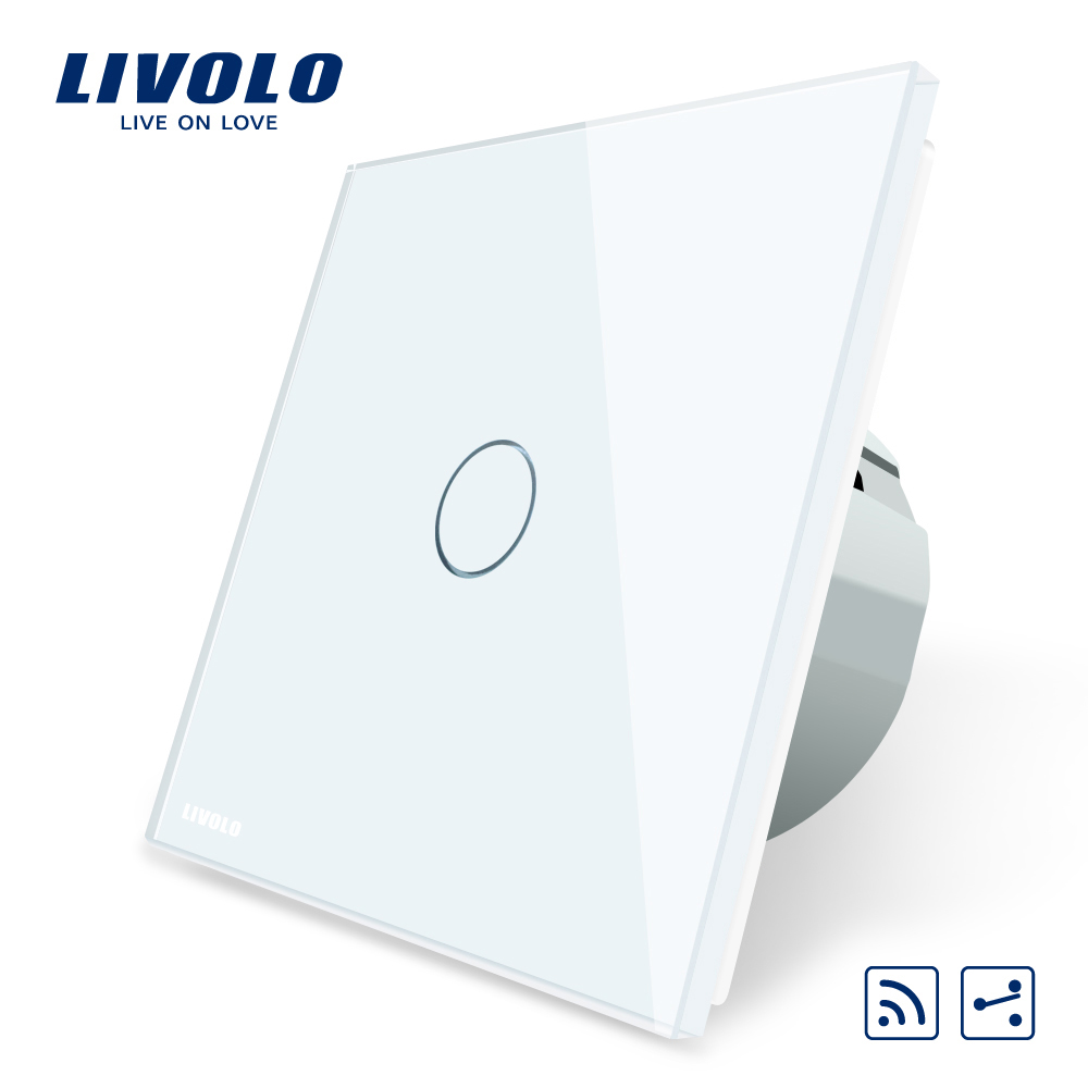 Intrerupator cap scara / cap cruce wireless cu touch Livolo din sticla imagine case-smart.ro 2021