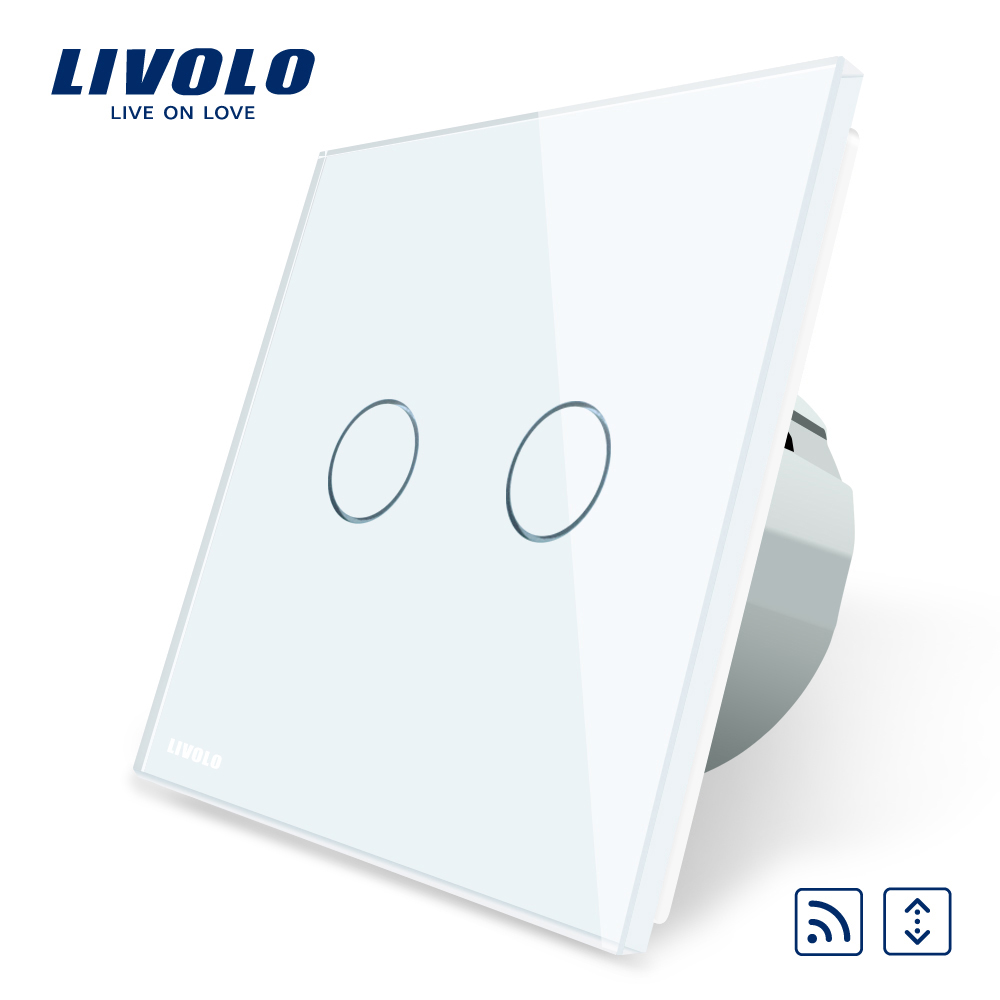 Intrerupator draperie wireless cu touch Livolo din sticla imagine case-smart.ro 2021