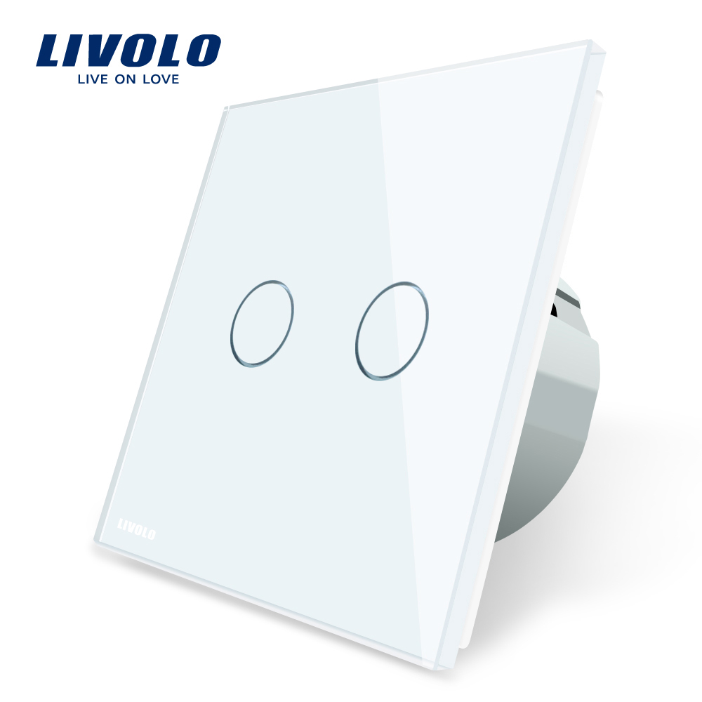 Intrerupator dublu cu touch Livolo din sticla imagine case-smart.ro 2021
