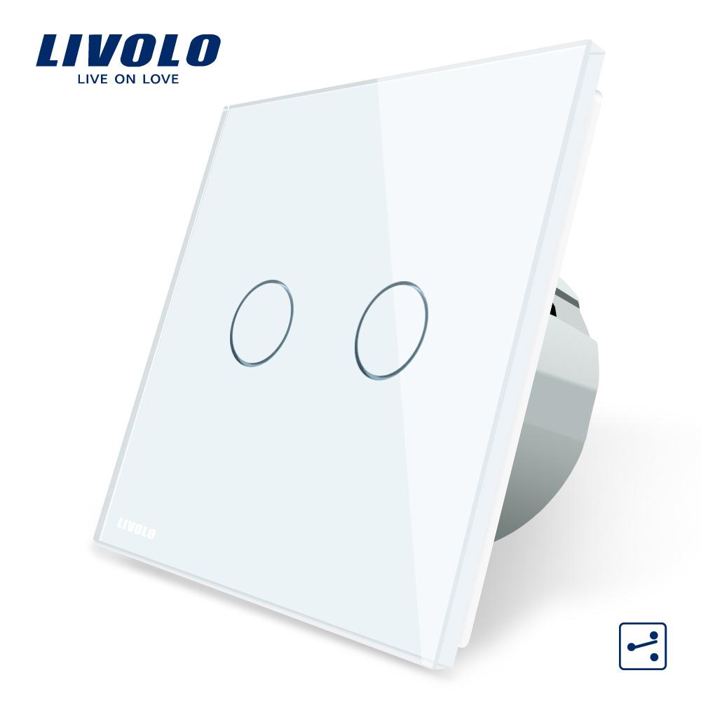 Intrerupator dublu cap scara / cap cruce cu touch Livolo din sticla imagine case-smart.ro 2021