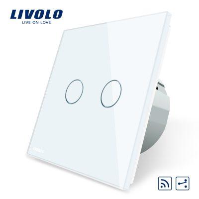Intrerupator dublu cap scara / cap cruce wireless Livolo din sticla