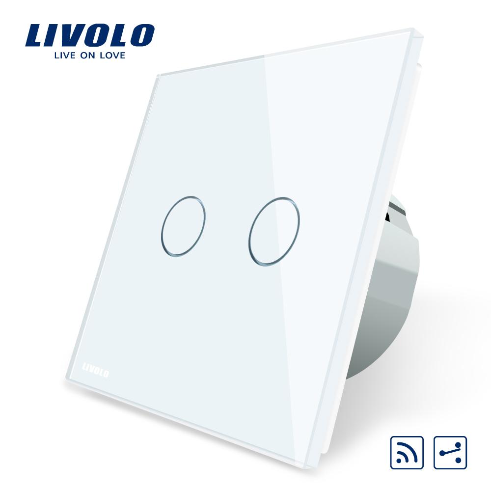 Intrerupator dublu cap scara / cap cruce wireless Livolo din sticla imagine case-smart.ro 2021