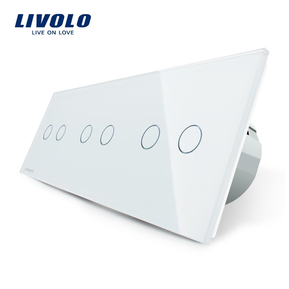 Intrerupator dublu+dublu+dublu cu touch Livolo din sticla imagine case-smart.ro 2021