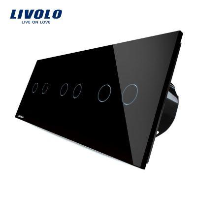Intrerupator dublu+dublu+dublu cu touch Livolo din sticla culoare neagra