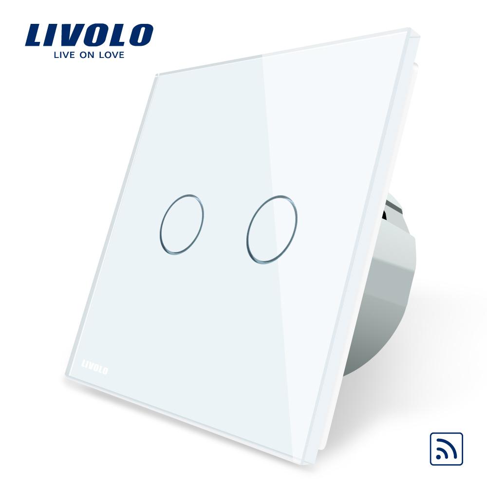 Intrerupator dublu wireless cu touch Livolo din sticla imagine case-smart.ro 2021