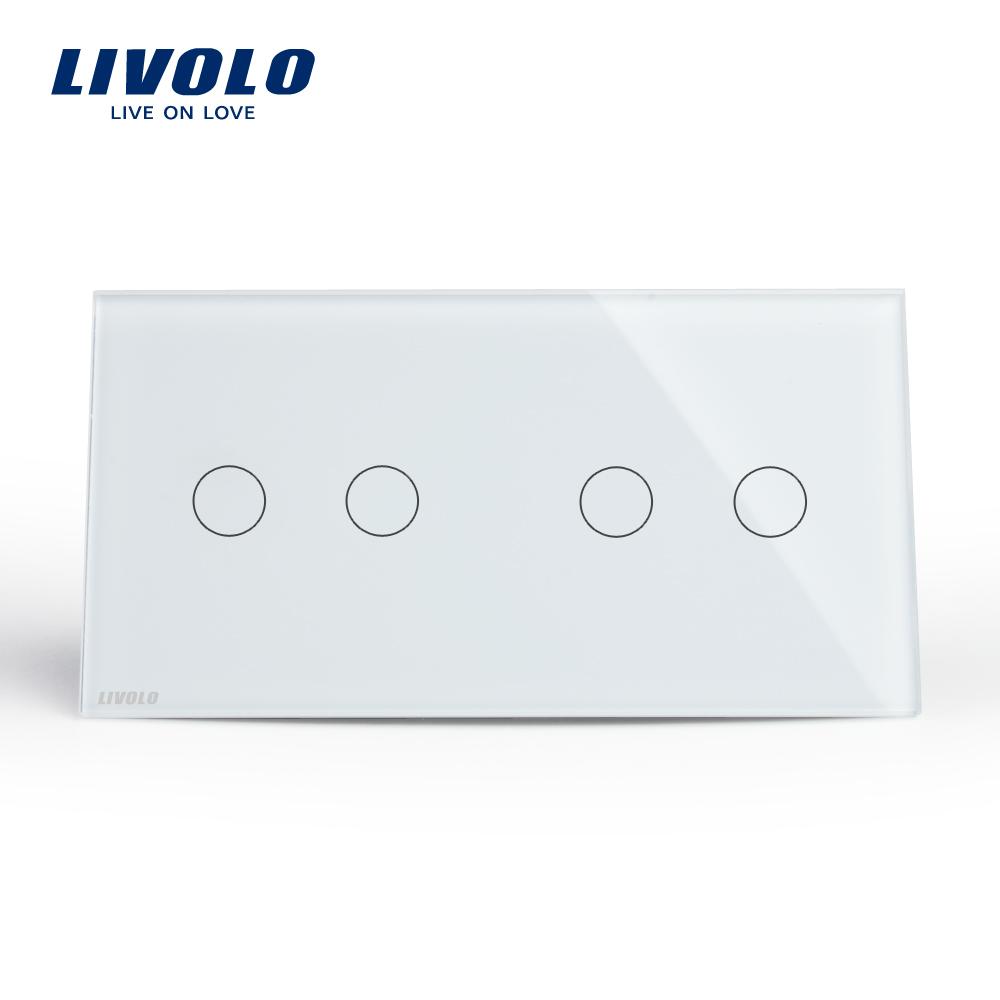 Intrerupator dublu + dublu cu touch Livolo din sticla
