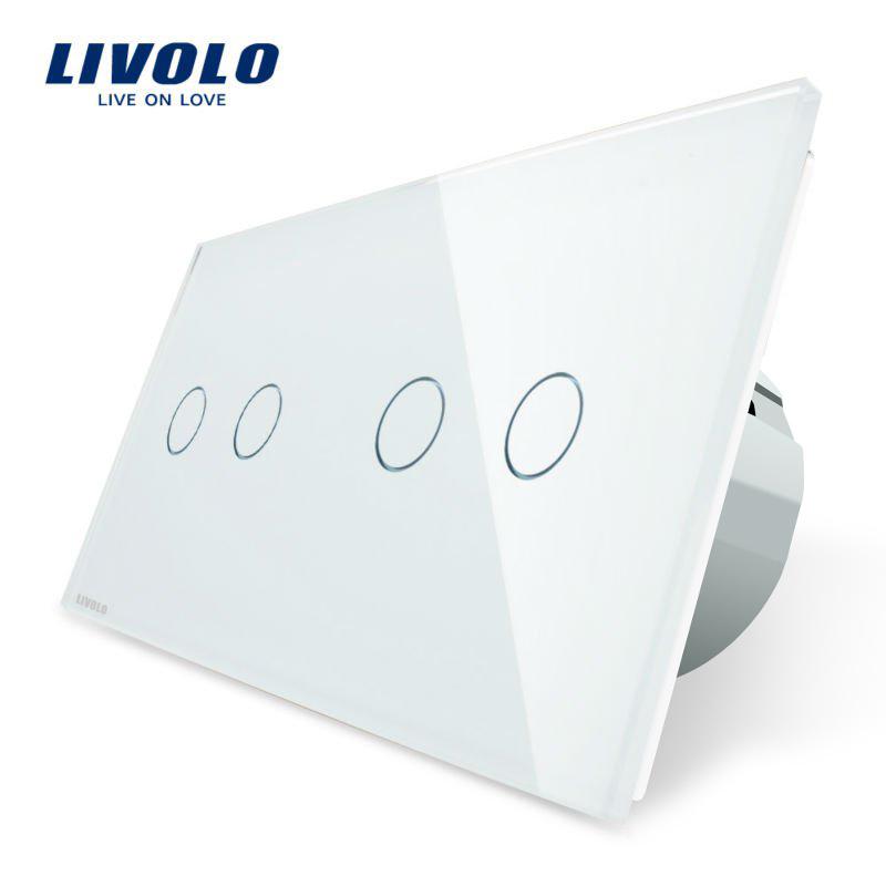 Intrerupator dublu + dublu cu touch Livolo din sticla imagine case-smart.ro 2021