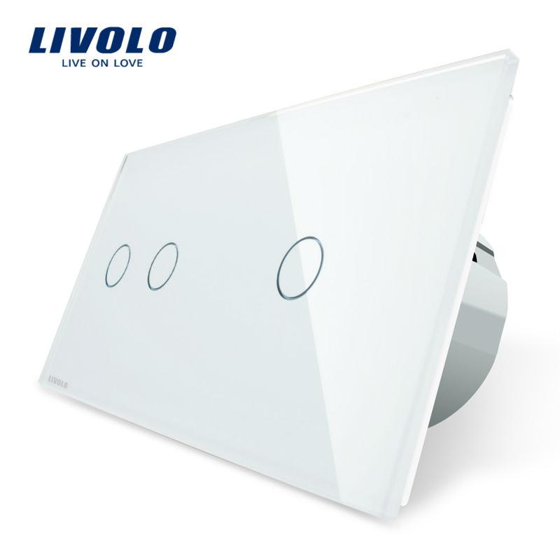 Intrerupator dublu + simplu cu touch Livolo din sticla imagine case-smart.ro 2021