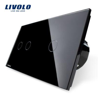 Intrerupator dublu + simplu cu touch Livolo din sticla culoare neagra
