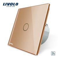 Intrerupator simplu wireless cu touch Livolo din sticla culoare aurie