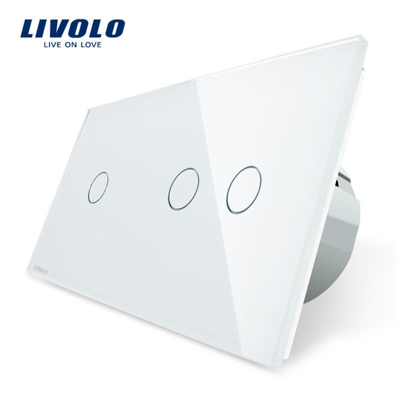 Intrerupator simplu + dublu cu touch Livolo din sticla imagine case-smart.ro 2021