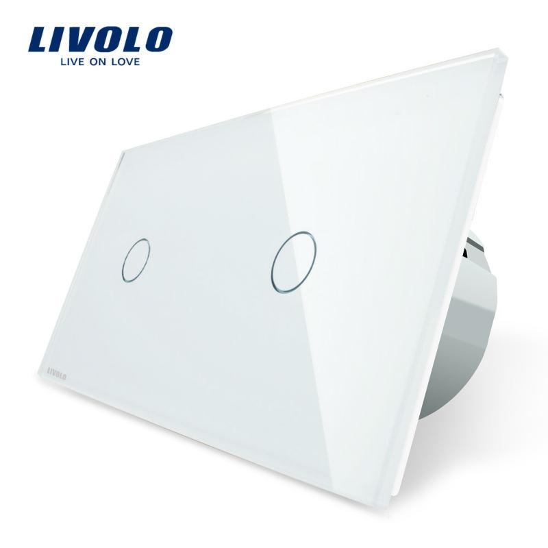 Intrerupator simplu + simplu cu touch Livolo din sticla imagine case-smart.ro 2021