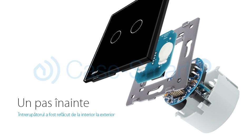 Intrerupator dublu wireless cu touch Livolo din sticla