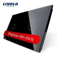 Panou intrerupator simplu+simplu cu touch Livolo din sticla culoare neagra