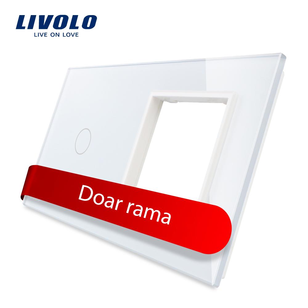 Panou intrerupator simplu cu touch si priza simpla Livolo din sticla imagine case-smart.ro 2021