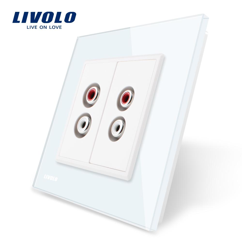 Priza dubla audio Livolo cu rama din sticla imagine case-smart.ro 2021