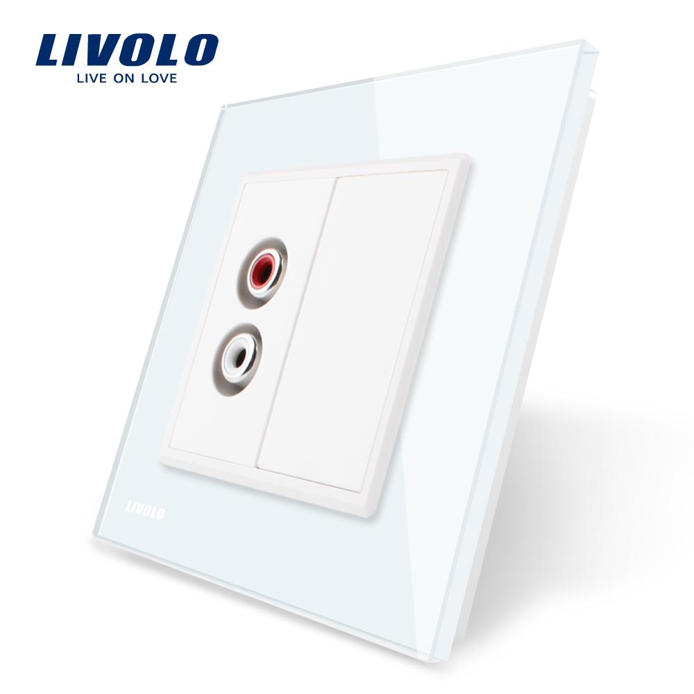 Priza simpla audio Livolo cu rama din sticla imagine case-smart.ro 2021