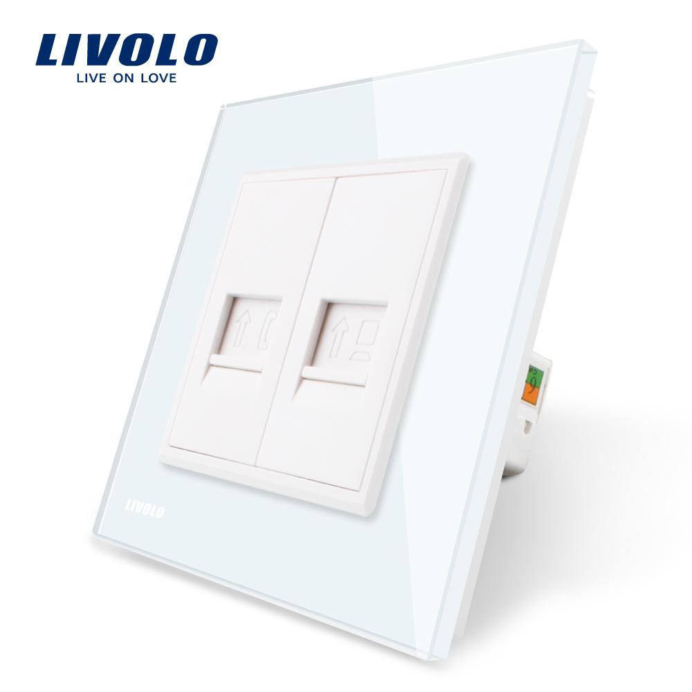 Priza dubla Telefon + Priza internet Livolo cu rama din sticla imagine case-smart.ro 2021