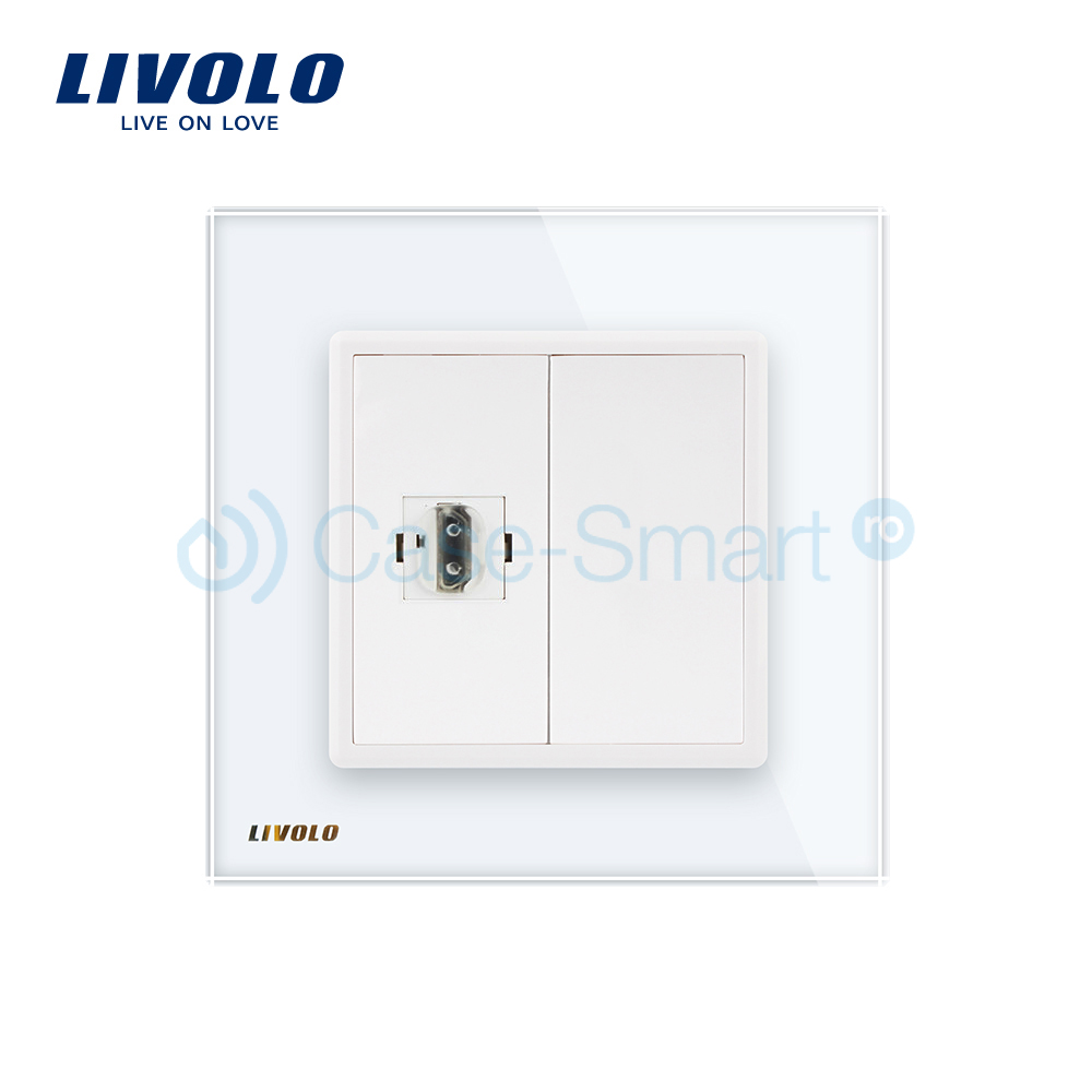 Priza simpla HDMI Livolo cu rama din sticla