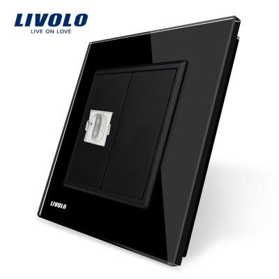 Priza simpla HDMI Livolo cu rama din sticla culoare neagra