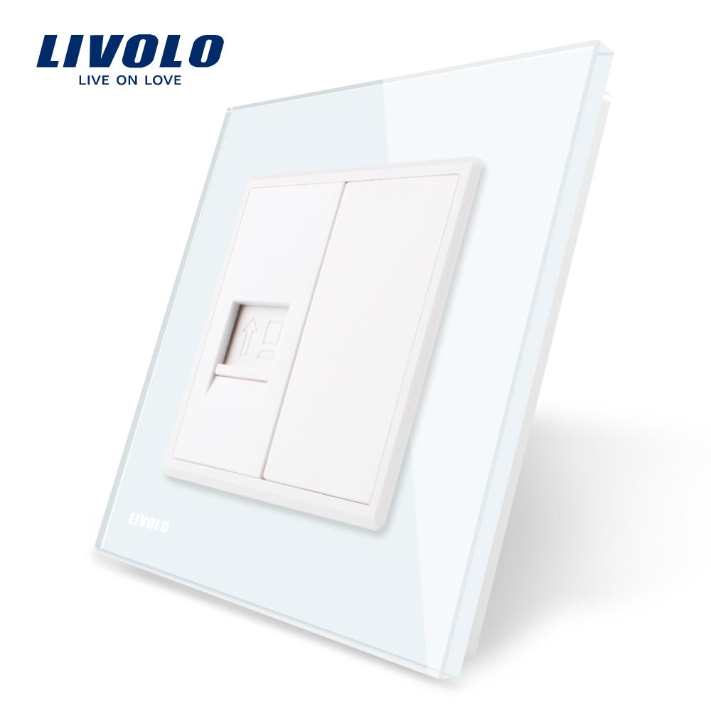Priza internet Livolo cu rama din sticla imagine case-smart.ro 2021