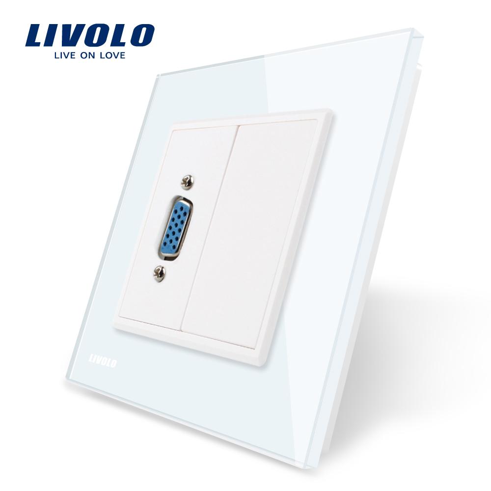 Priza cu mufa VGA mama Livolo cu rama din sticla imagine case-smart.ro 2021