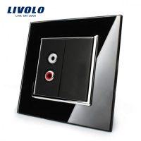 Priza simpla audio Livolo cu rama din sticla